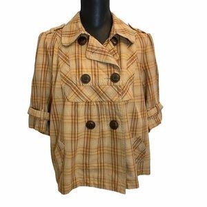 Swing Jacket Plaid Double Breasted Size Large